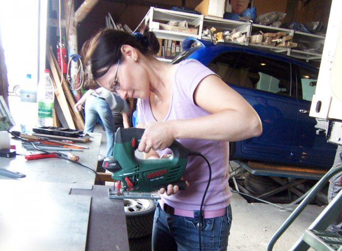 wife building motorhome