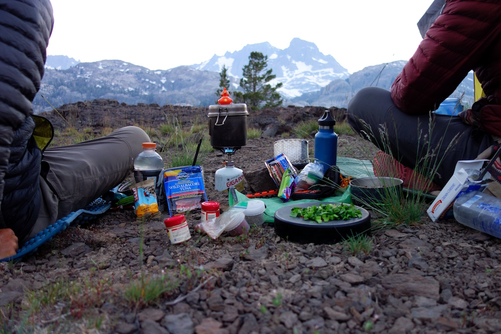 thru-hiking dinner