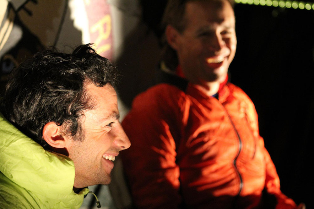 Kilian Jornet (left) and Jason Schlarb after tying for first at the 2016 Hardrock 100. Photo by Alex Kurt