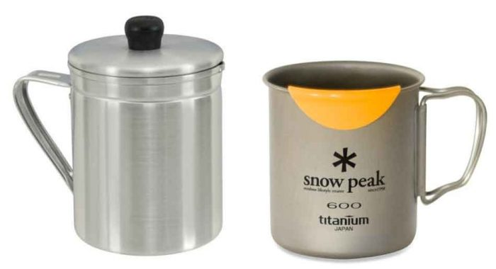 'Grease pot' from Wal-Mart (left) and Snow Peak Titanium mug