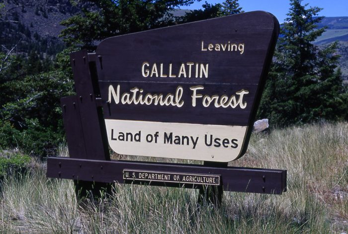"Gallatin National Forest ""Land of Many Uses"" sign; Jim Peaco; July 2000"