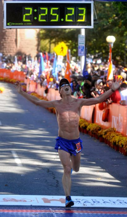 Oz Pearlman wins the Long Island Marathon in May, 2016
