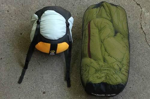 sleeping bags stuffed in sacks
