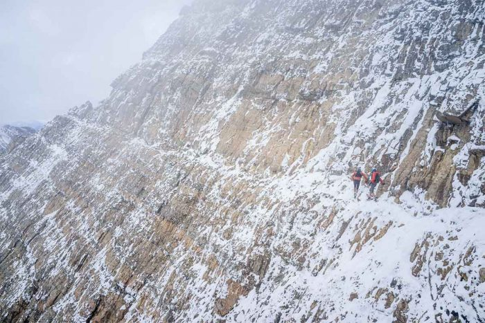 Icy ledges, big drops... in running shoes