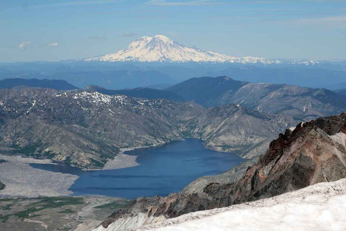 Looking into the crater on Mount St. Helens