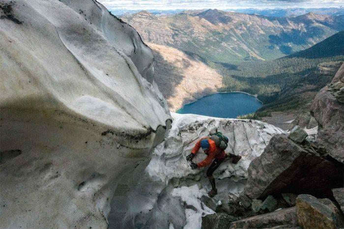 Careful footwork on a descent