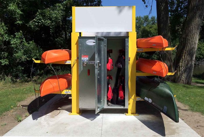 Currently installed in Albert Lea, Minn., is an example of the kayak stations Paddle Share will install. For the pilot program, Paddle Share will have eight-kayak stations with lockers