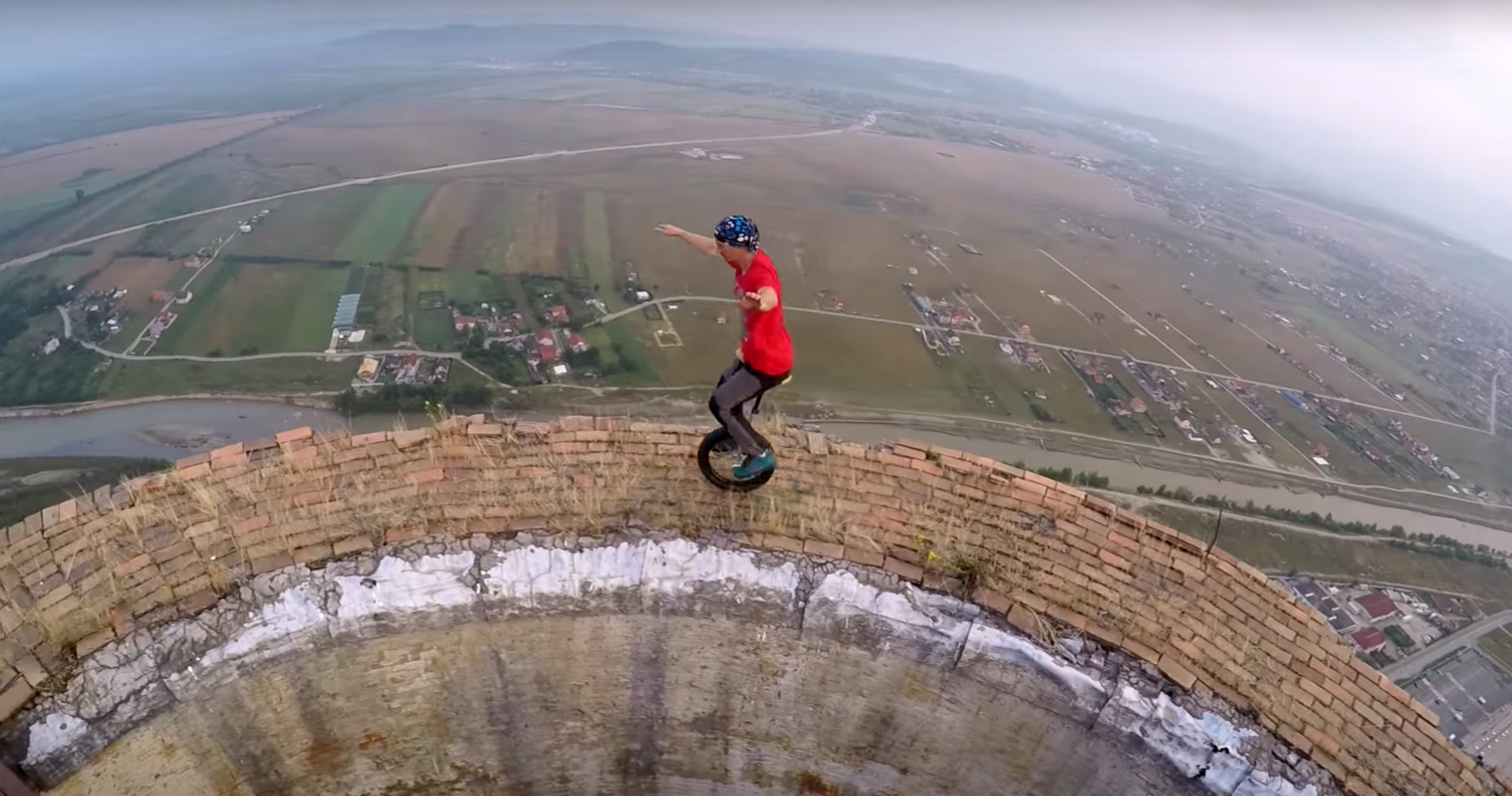 A Really Scary Spot For A Unicycle Ride