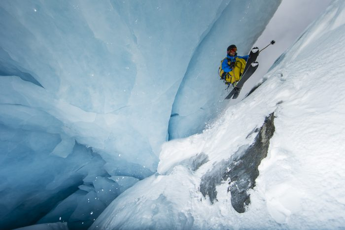 skiing through a glacier