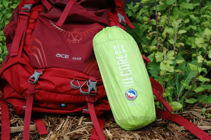 Big Agnes Sleeping Pad Q Core SLX Next To Backpack