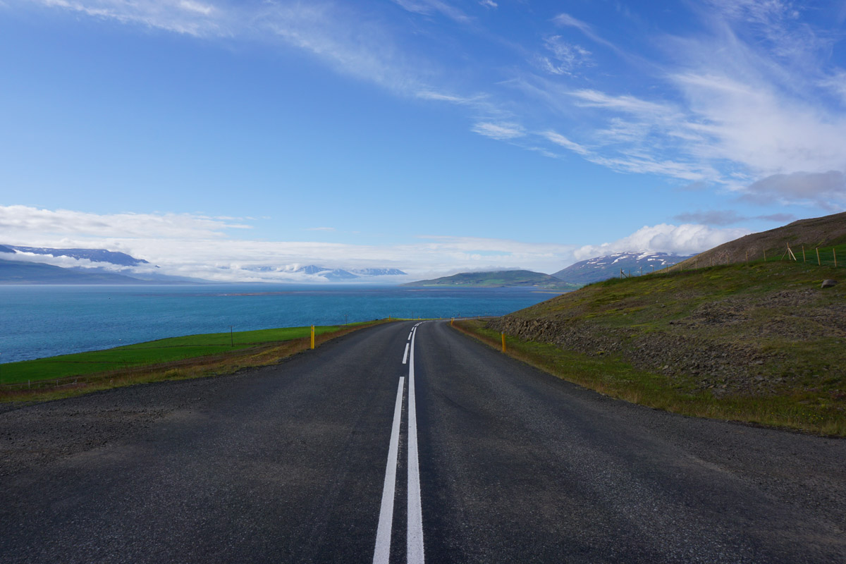 scenic road and view in iceland
