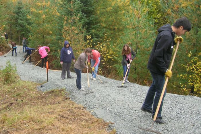 Volunteers work on The Great Trail construction