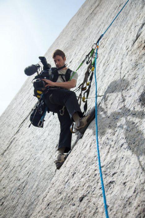 shooting film camera cliff climber