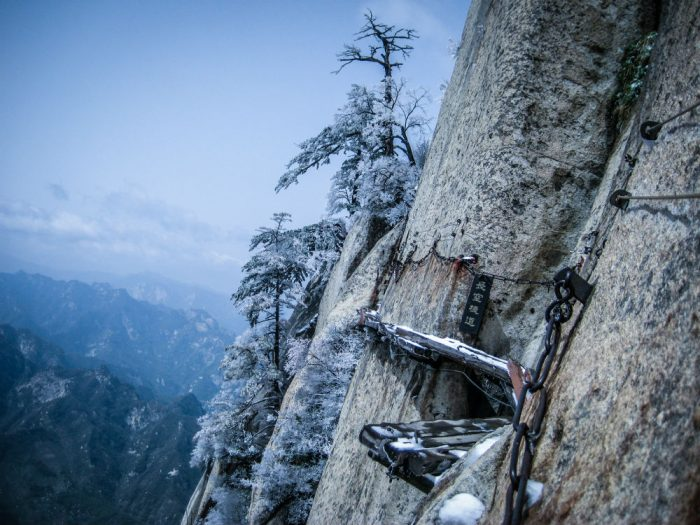 cliffside path in china mount hua