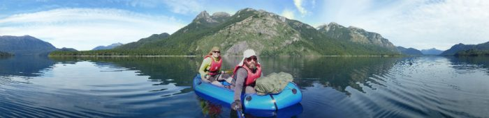 Meylin Ubilla and Jan Dudeck packrafting Lago Futalaufquen
