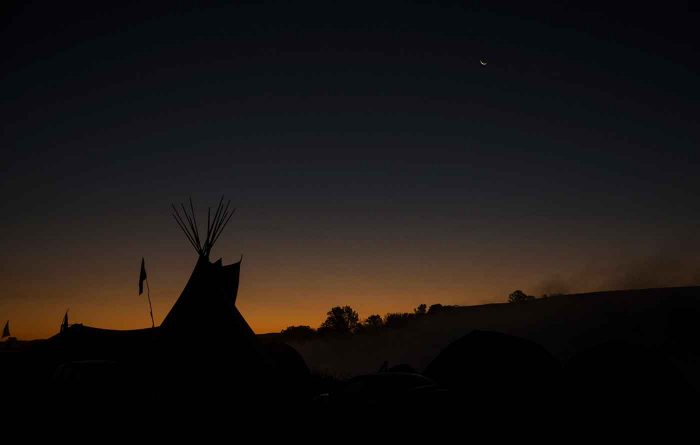 Dawn in Cannon Ball, ND and one of the temporary campsites formed during this conflict