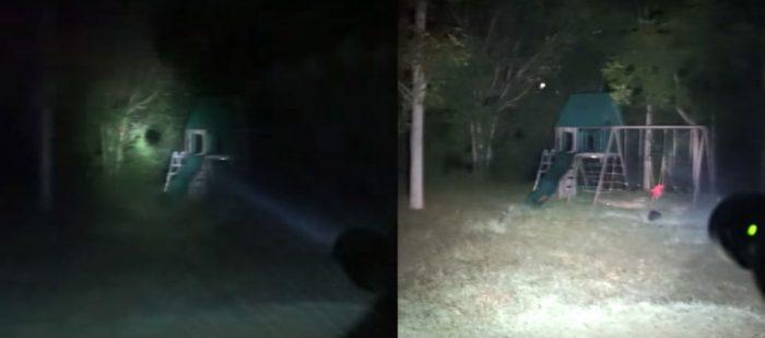 Illumination comparison of LED Maglite (left) and Flash Torch Mini on high mode (right)