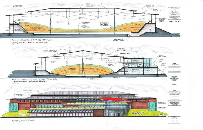 Cross section of the MNCC velodrome building