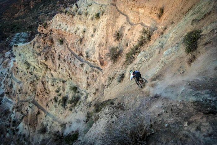James Doerfling bombs the new Red Bull Rampage course. Photo credit: Christian Pondella/Red Bull