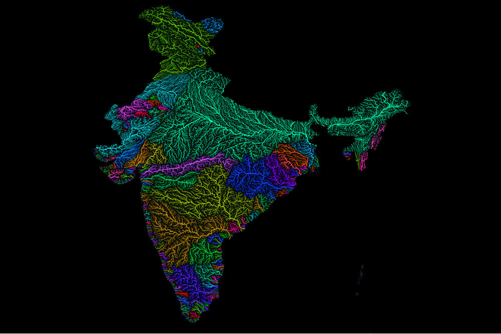 Colorful map art celebrates watersheds of the world river system map of india gumiabroncs Choice Image