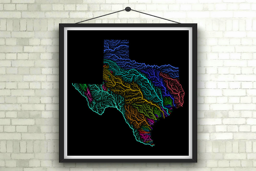Colorful Map Art Celebrates Watersheds Of The World - Colorful map of watersheds in us