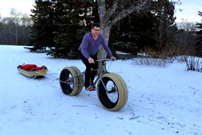 Hank Van Weelden testing a four-wheel fat bike