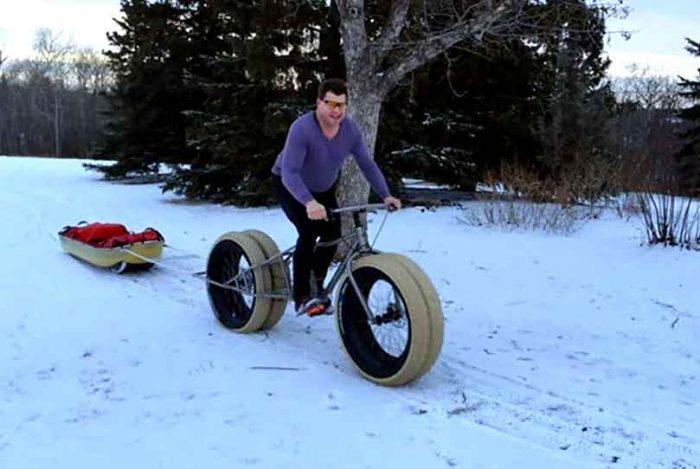 Hank Van Weelden testing a four-wheel fat bike