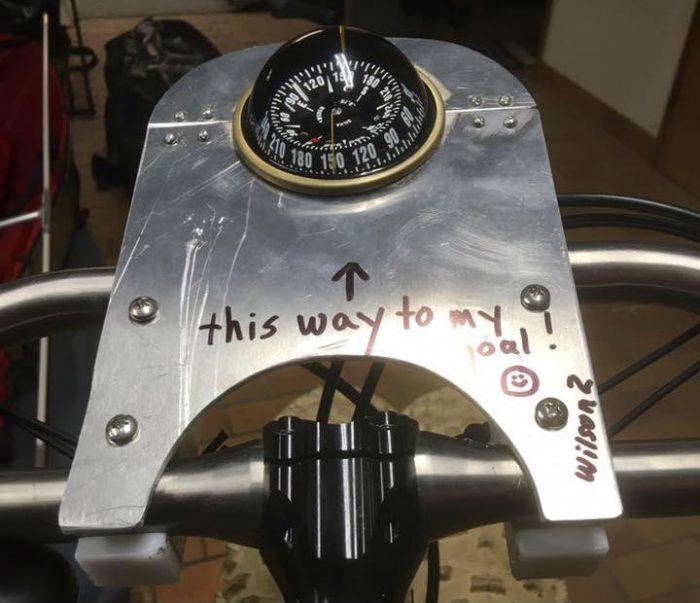 Compass holder welded to titanium fat bike frame
