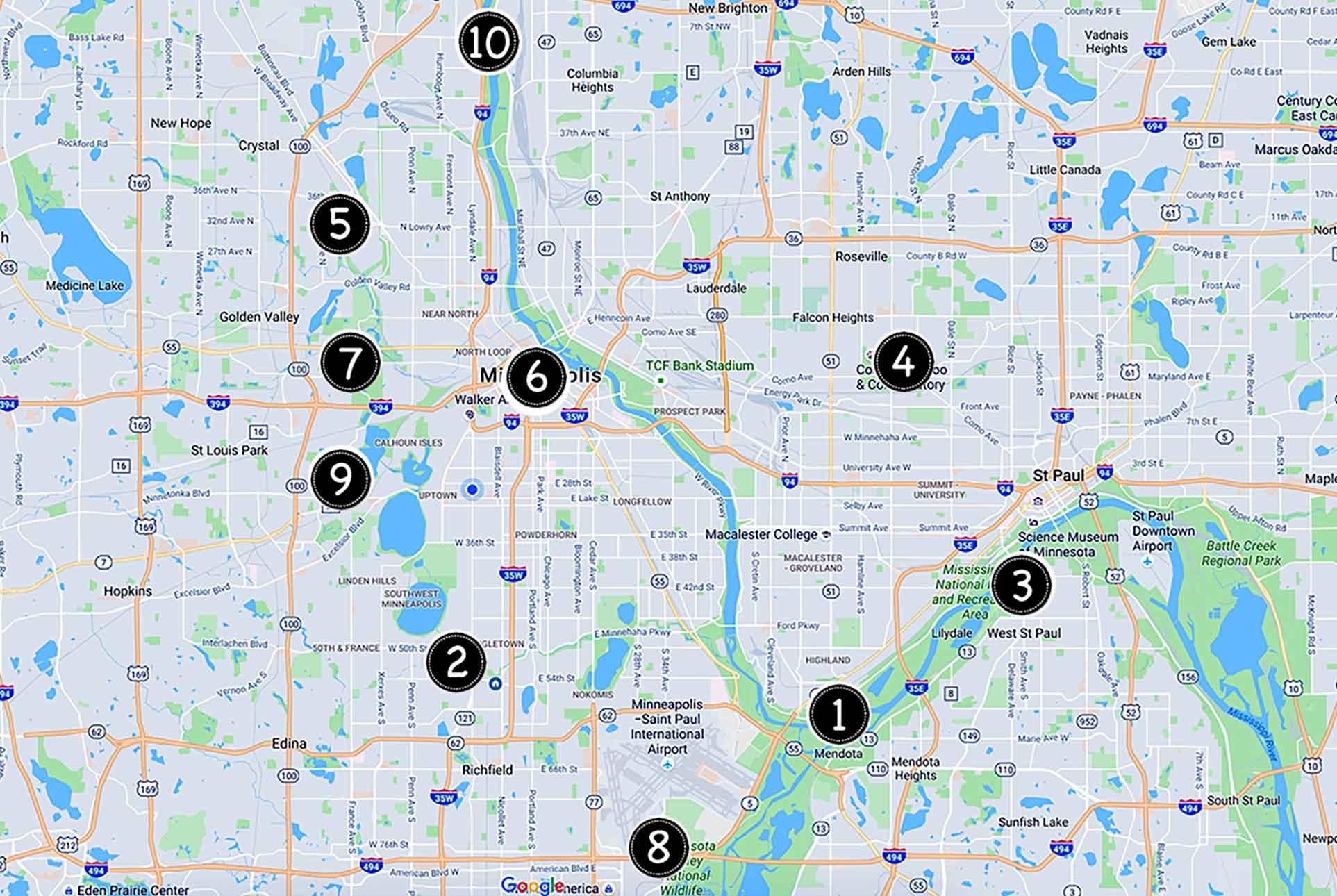 Twin Cities adventure map