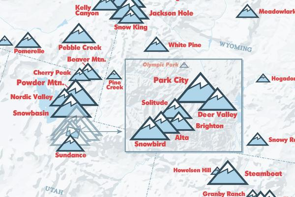 Mapped Ski Areas Of North America - Us ski resorts map