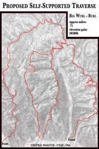 Map of Wasatch mountain traverse