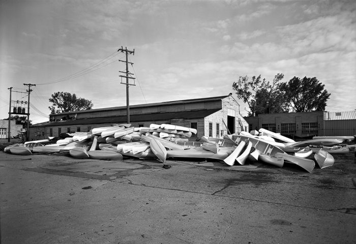 In 1967, Minnesota-based Alumacraft (shown here as Aluma Craft Apex Co.) was apparently shoveling canoes out the door as fast as they could be produced. The company, founded by Henry J. Neils, was a competitor to Grumman in the canoe business and made other boats as well. Photograph by Norton & Peel. Courtesy of the Minnesota Historical Society