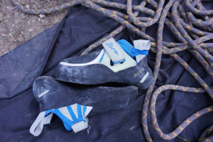 Butora Acro Rock Climbing Shoe On Tarp With Rope