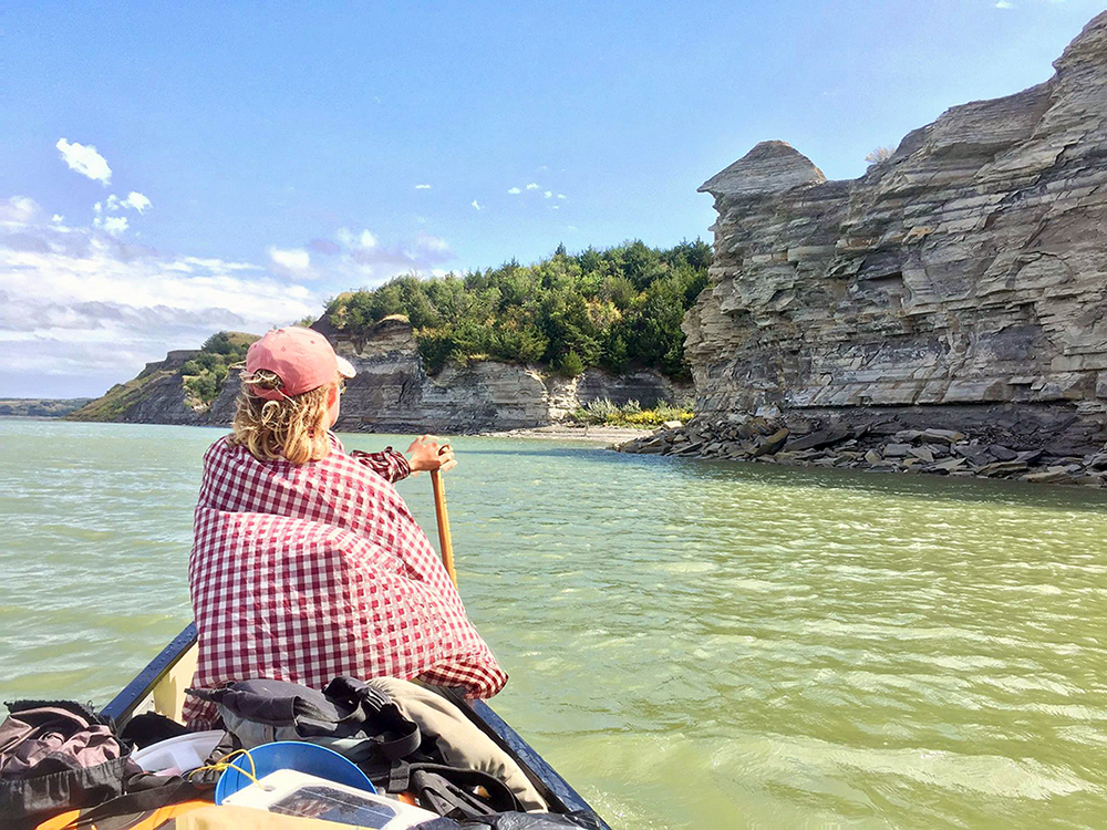 Alyce Kuenzli on Lake Sakakawea, North Dakota, during her 3902-mile canoe adventure.