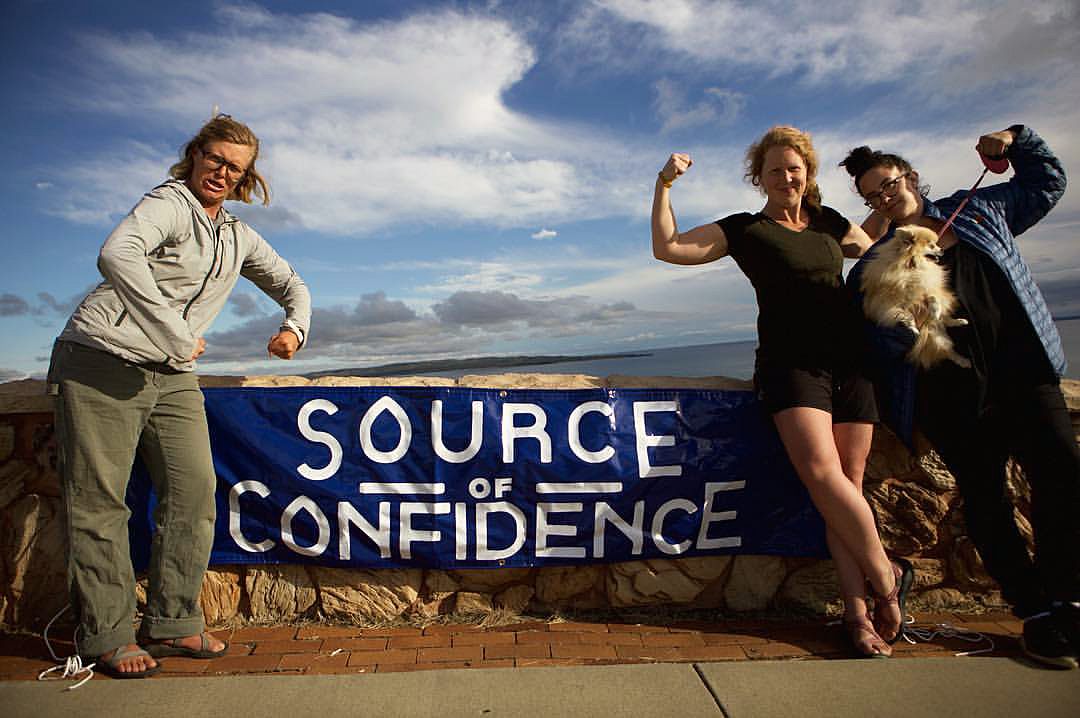 Alyce Kuenzli, Lisa Pugh, and their one-woman support crew, Viki Carpenter, at Ft. Peck Reservoir, Montana