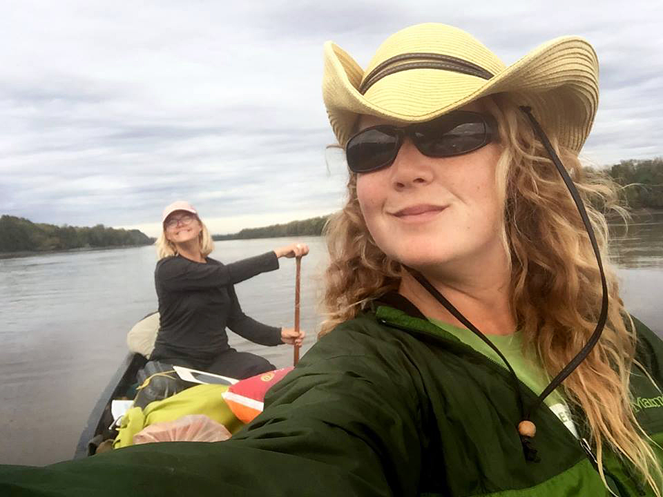 Lisa Pugh, front, and Alyce Kuenzli, became the first female-led team to canoe the fourth longest river system in the world — the Missouri-Mississippi.