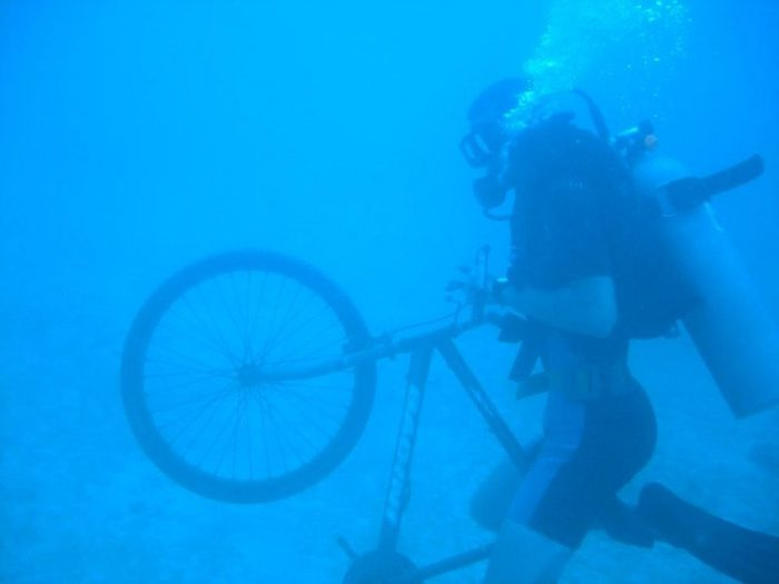 "Among his many adventures, Schroeder ""dove"" into underwater cycling in Honduras"