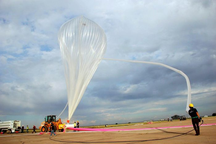 Inflating the balloon for takeoff. $75,000 ride to space stratosphere