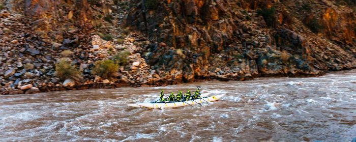 Fast water on the Colorado River during a test day before the record attempt
