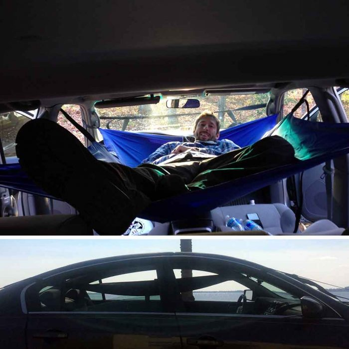 inside the car hammock