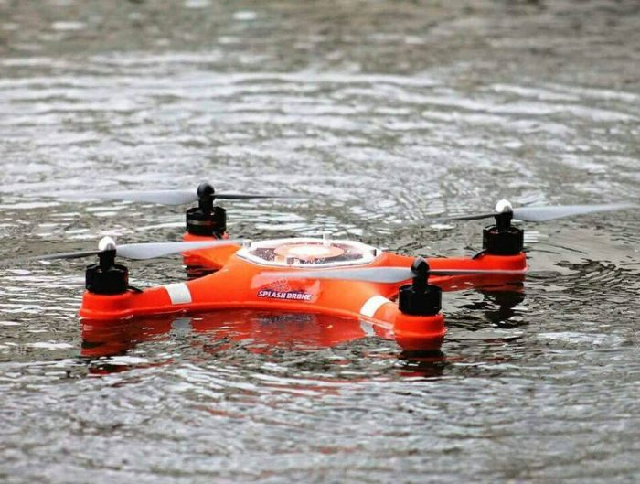 waterproof drone in lake