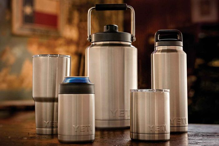 YETI Rambler Jug (center) is biggest in a line of insulated products from the brand