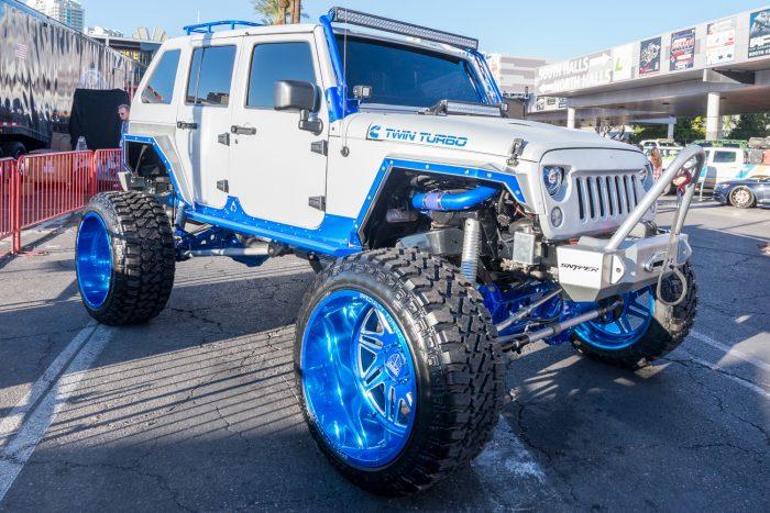 massive jeep raised suspension sema show