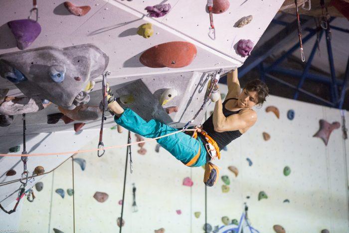 sport climbing in gym