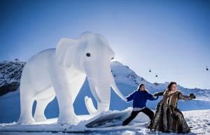 elephant sculpture with actors