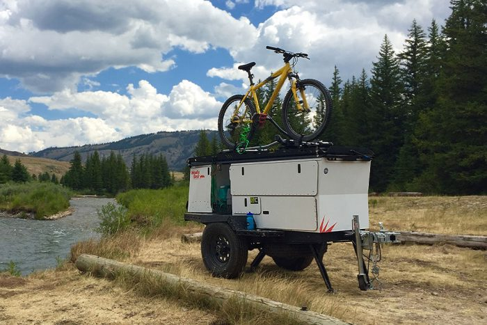 woolly bear adventure trailer bike rack on top