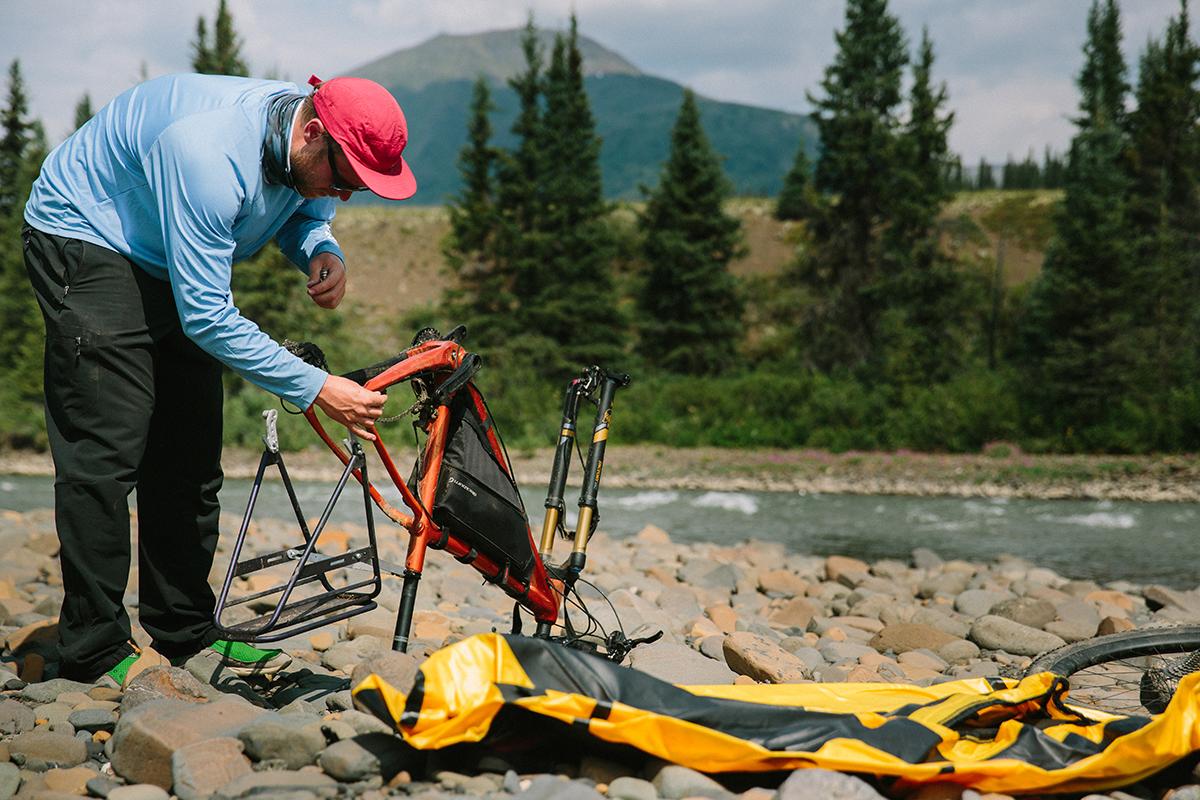prepping the packrafts Bikerafting Sacred Headwaters