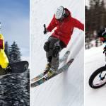 skier snowboarder fatbiker