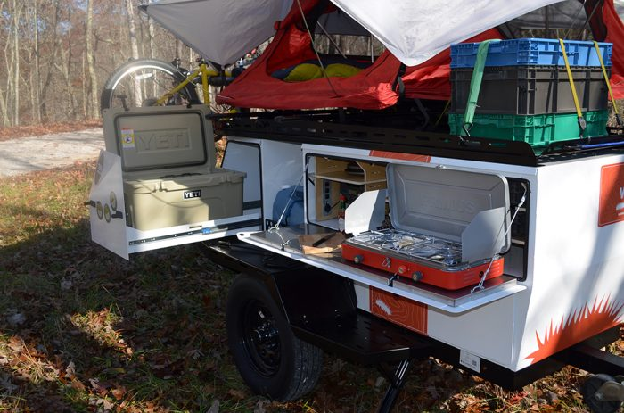 woolly bear adventure trailer with yeti cooler