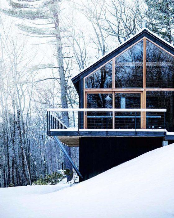 hudson woods winter cabin